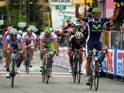 Spanish rider Francisco Ventoso celebrates as he crosses the finish line to win the ninth stage of the Giro d'Italia.