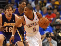Oklahoma City Thunder guard Russell Westbrook (0) handles the ball against Los Angeles Lakers center Pau Gasol (16) during the second half in Game 1.