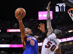 J.R. Smith, with the ball, was one of the New York Knicks who had trouble scoring vs. the Miami Heat in the Game 1 100-67 playoff loss April 28.