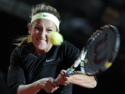 Victoria Azarenka of Belarus lines up a backhand during her victory Wednesday against Shahar Peer of Israel.