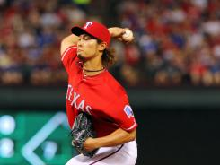Texas Rangers starting pitcher Yu Darvish had seven strikeouts against the Oakland A's. The Rangers won 4-1 and Darvish earned his sixth victory.