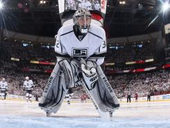 Goaltender Jonathan Quick, shown Sunday, has been key to the Kings' postseason march, giving up 16 goals in 11 games.