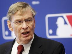 Bud Selig speaks at a news conference after Thursday's owners' meeting.