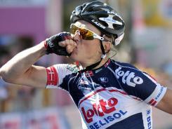 Denmark's Lars Bak celebrates as he crosses the finish line to win the 12th stage of the Giro d'Italia on Thursday.