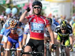 Britain's Mark Cavendish was center stage as he hit the finish line first for the 13th stage of the Giro d'Italia.