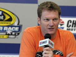 Dale Earnhardt Jr. addresses the news media Friday in advance of Saturday night's Sprint All-Star Race at Charlotte Motor Speedway.