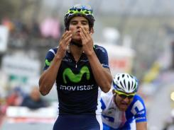 Costa Rica's Andrey Amador celebrates as he crosses the finish line to win the 14th stage of the Giro d'Italia on Saturday.