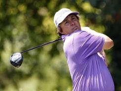 Jason Dufner hits a tee shot on the first hole during Saturday's third round of the Byron Nelson Classic. He has a one-shot lead over three others heading into the final round.