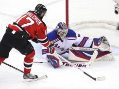 Henrik Lundqvist made all the saves for the Rangers, including one on Ilya Kovalchuk during Game 3 of their third-round Stanley Cup series.