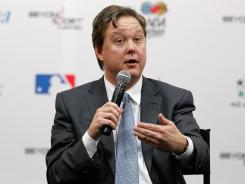 NASCAR CEO Brian France speaks to the news media Saturday night.