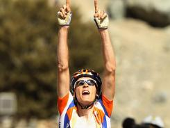Robert Gesink of the Netherlands celebrates after winning stage seven of the Tour of California. Stage seven is considered one of the most difficult stages in the race. Gesink has a 46-second overall lead.
