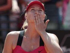 Maria Sharapova of Russia acknowledges the cheers Saturday after defeating Angelique Kerber of Germany in the semifinals of the Italian Open.