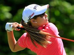 Azahara Munoz of Spain hits her tee shot on the first hole during the championship match against Candie Kung of Taiwan. Munoz won 2 and 1 for her first LPGA title.