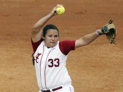 Alabama's Jackie Traina, pitching against Georgia earlier this month, struck out 10 Sunday en route to the regional-clinching win against South Alabama.