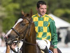 Jockey Kent Desormeaux rode Dullahan to victory in the Blue Grass Stakes at Keeneland Race Track in April.