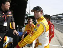 Ryan Hunter-Reay, front, talking to car owner Michael Andretti, left, will start in the No. 3 slot at the Indy 500 and is one of nine U.S. drivers in the race.
