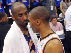 Los Angeles Lakers guard Kobe Bryant (24) congratulates Oklahoma City guard Russell Westbrook (0) after the Thunder's Game 5 win Monday.