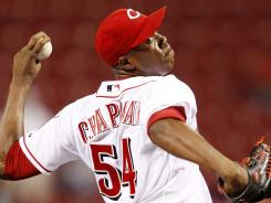 The Reds' Aroldis Chapman, who routinely throws pitches in the 100-mph range, was arrested after nearing the same speed in his car.