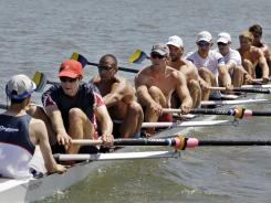 The United States eight-man crew team, shown here practicing in Oakland, Calif., on May 7, beat New Zealand and France in a last-chance Olympic qualifier Tuesday in Switzerland.