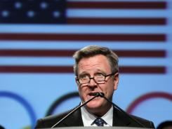 USOC chief executive officer Scott Blackmun addresses Team USA athletes and members of the news media at the 2012 USOC Media Summit in Dallas.