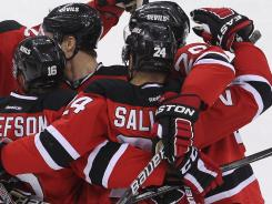 Devils defenseman Bryce Salvador (24), with one goal in the Eastern Conference final, has more than some of the top Rangers offensive players combined.