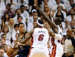 Miami Heat forward LeBron James, No. 6, earned NBA first team all-defensive honors for the fourth time in his career.