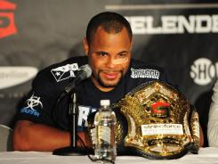 Daniel Cormier addresses the media in a press conference after defeating Josh Barnett during the heavyweight tournament final bout of the Strikeforce World Grand Prix.