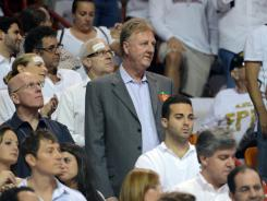 Indiana Pacers president Larry Bird, standing in the grey jacket, did not appreciate the way his team folded to the Miami Heat in Game 5 of their Eastern Conference semifinals series Tuesday.
