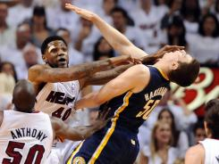 Miami's Udonis Haslem will sit out a game for this Flagrant Foul Two against Indiana's Tyler Hansbrough.