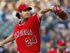 Angels starting pitcher Dan Haren threw 126 pitches while shutting out the Mariners. Haren's record now sits at 2-5.