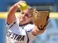 Olivia Galati leads Division I players this season in ERA (0.91) and shutouts (17). She has been named Colonial Athletic Association pitcher of the year all three years of her career.