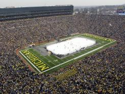 Michigan Stadium is filled up during the Big Chill college hockey game in 2010.
