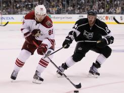 Mikkel Boedker, left, finished with eight points in the 2012 NHL Playoffs, including four goals and four assists.