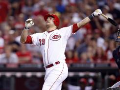Devin Mesoraco hit his grand slam in the sixth inning against the Atlanta Braves. Mesoraco had just one home run and three RBI going into the game.