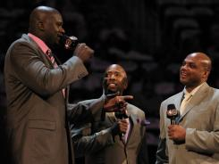 Shaquille O'Neal, left, will continue in the role he is most known for now, as an NBA analyst on TNT, and will not interview for the Orlando Magic general manager job.