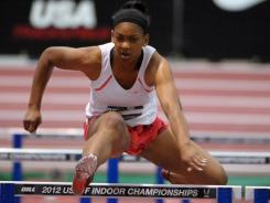 Trinity Wilson runs 8.25 in a women's 60-meter hurdle heat in the 2012 USA Indoor Championships at the Albuquerque Convention Center.