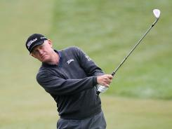 Roger Chapman tied the 54-hole record at the Senior PGA Championship with a 7-under 64.