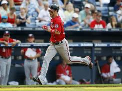 Washington Nationals' Bryce Harper went 2-for-4 against the Braves and hit his third career home run.