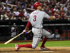 Philadelphia right fielder Hunter Pence hit a two-run home run in the tenth inning against the Cardinals to put the Phillies up for good.