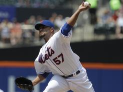 Mets starter Johan Santana struck out seven and allowed just four hits to the Padres in Saturday's 9-0 win.