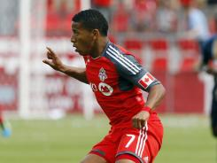 Toronto FC forward Joao Plata carries the ball against the Philadelphia Union at BMO Field. The only goal scored was by Plata's teammate Danny Koevermans.