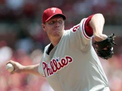 Phillies pitcher Roy Halladay left after two innings Sunday.