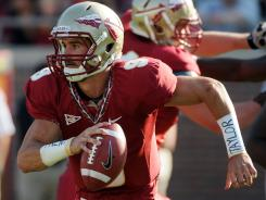 Quarterback Clint Trickett runs the ball during the second half of the Florida State spring game.