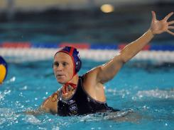 Heather Petri competes against Greece during the Holiday Cup tournament at the USA Water Polo National Training Center in Los Alamitos, Calif., on Feb. 19.