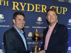 U.S. Ryder Cup captain Davis Love III, right, with European captain Jose Maria Olazabal, must like what he sees from American golfers this year.