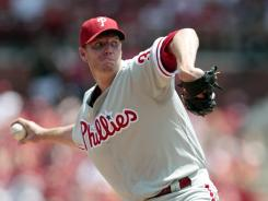 Roy Halladay left Sunday's game after two innings with shoulder sorenes..