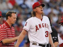 Los Angeles Angels pitcher Jered Weaver was forced to leave his start against the Yankees in the first inning Monday night and learned Tuesday he was being placed on the 15-day DL.