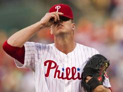 Phillies ace Roy Halladay, shown last week, had a brutal May and is out for six to eight weeks.