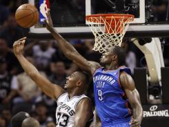 Guaranteed spot: Boris Diaw (33) and the Spurs are tussling with the Thunder and Serge Ibaka (9) to be the West's representative in the NBA Finals. Either way, it will be a small-market squad.
