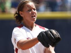 Oklahoma's Keilani Ricketts celebrated being named USA Softball's college player of the year by striking out 11 and blasting an RBI triple in the win against South Florida.